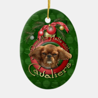 Christmas - Deck the Halls - Cavaliers - Ruby Ceramic Ornament