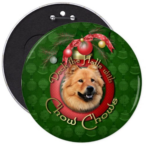 Christmas - Deck the Halls - Chows - Cinny Pinback Buttons