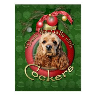 Christmas - Deck the Halls - Cockers Postcards