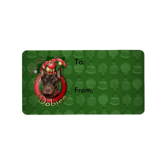 Christmas - Deck the Halls - Dobies - Rocky Address Label