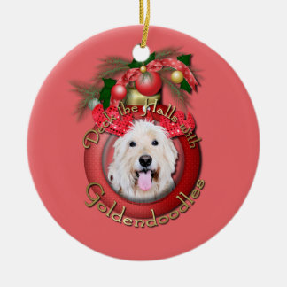 Christmas - Deck the Halls - GoldenDoodles - Daisy Ceramic Ornament