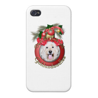 Christmas - Deck the Halls - GoldenDoodles - Daisy iPhone 4 Covers