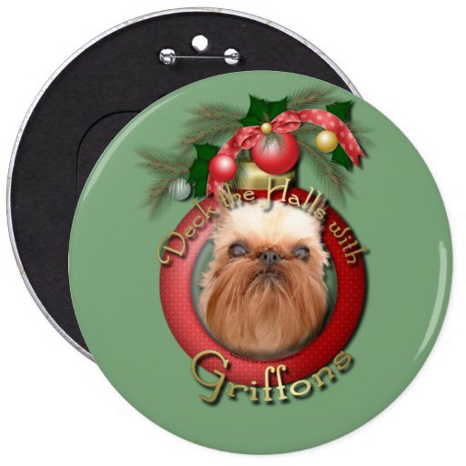 Christmas - Deck the Halls - Griffons Button
