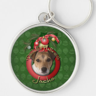 Christmas - Deck the Halls - Jacks Silver-Colored Round Key Ring