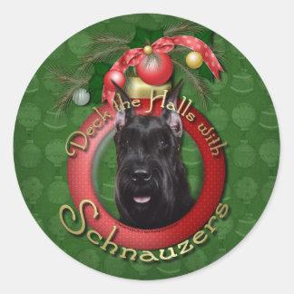 Christmas - Deck the Halls - Schnauzer Sticker