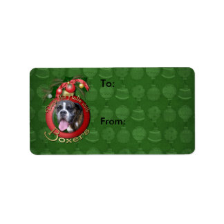 Christmas - Deck the Halls with Boxers Address Label