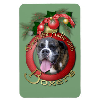 Christmas - Deck the Halls with Boxers Rectangular Magnets