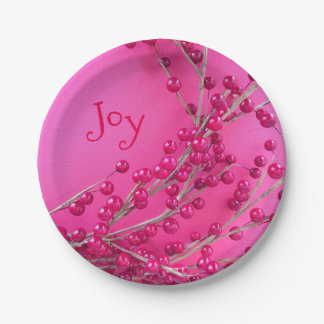 Christmas Decoration Berries Paper Plate
