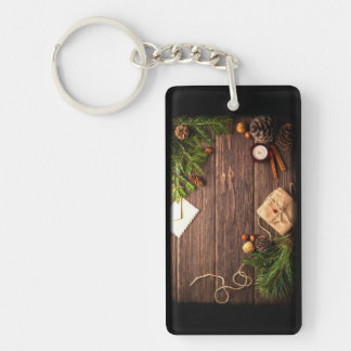 Christmas Decoration with Barn Wood and Pine Key Ring