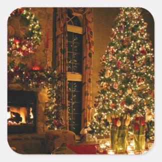 Christmas decorations - christmas tree square sticker