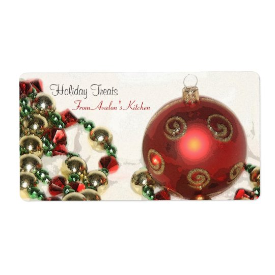 Christmas Decorations Kitchen Treat Baking Label