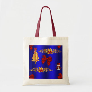 Christmas Decorations on Blue Tote Bag