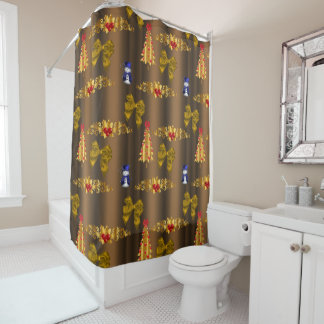 Christmas Decorations on Bronze Shower Curtain