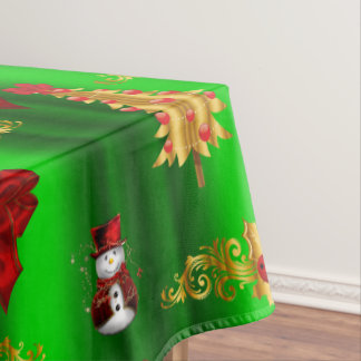 Christmas Decorations on Green Tablecloth