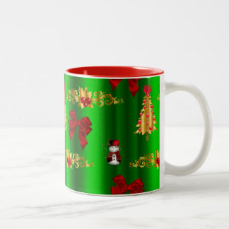 Christmas Decorations on Green Two-Tone Coffee Mug