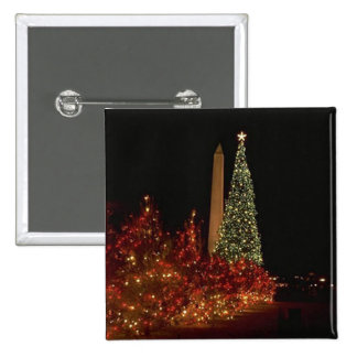 Christmas decorations on the Washington DC  Mall 15 Cm Square Badge