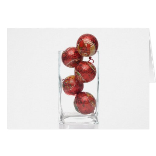 Christmas decorative balls in glass jar greeting card