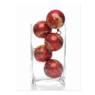 Christmas decorative balls in glass jar postcard