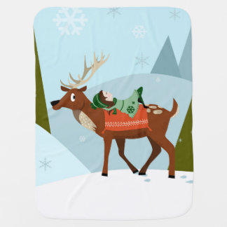 Christmas deer and elf on snowy mountains tops baby blanket