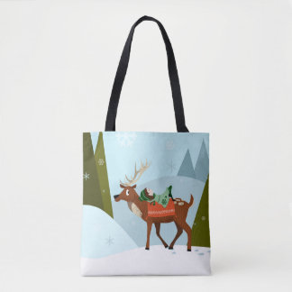 Christmas deer and elf on snowy mountains tops tote bag
