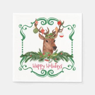 Christmas Deer Happy Holidays Frame Paper Napkin