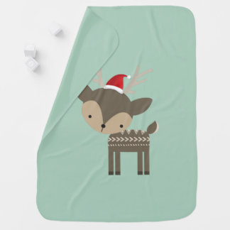 Christmas Deer In A Red Santa Hat Retro Hipster Buggy Blankets