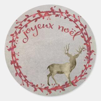 Christmas Deer Joyeux Noel Classic Round Sticker