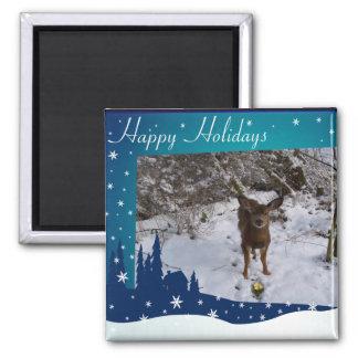 Christmas Deer Square Magnet