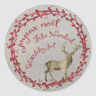 Christmas Deer Multi Christmas Greetings Classic Round Sticker