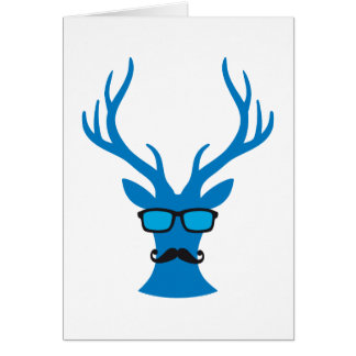 Christmas deer with moustache and nerd glasses card