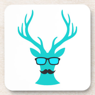 Christmas deer with mustache and nerd glasses drink coasters
