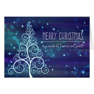 Christmas Dentist & Staff, Bokeh Effect & Tree Card