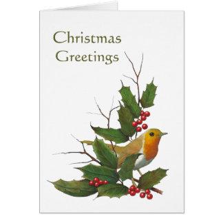 Christmas Design: English Robin, Holly, Berries Greeting Card