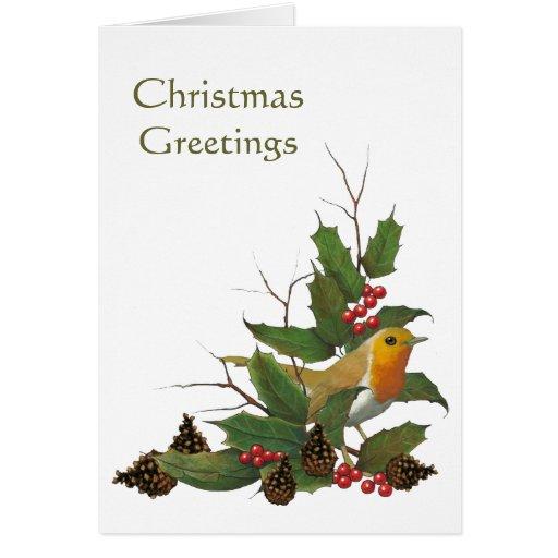 Christmas Design: English Robin, Holly, Pine Cones Greeting Card