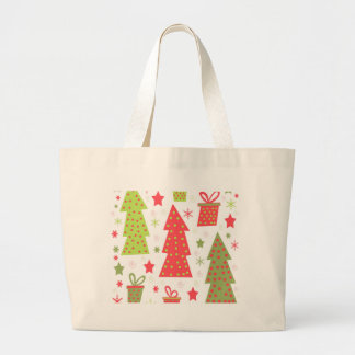 Christmas design - green and red large tote bag
