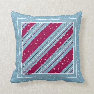 Christmas Diagonal Stripes Blue ID440 Cushion