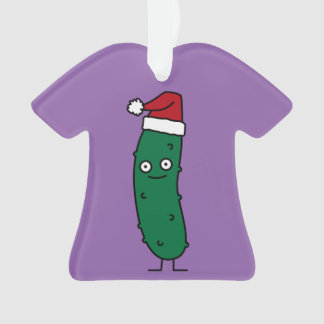 Christmas Dill Pickle wearing a Santa Hat Ornament