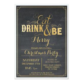 Christmas Dinner Party Black Gold Snow Xmas Invite