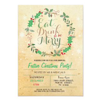 Christmas Dinner Party Eat Drink Merry Xmas Invite