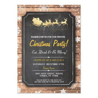 Christmas Dinner Party Santa Wood Snow Xmas Invite