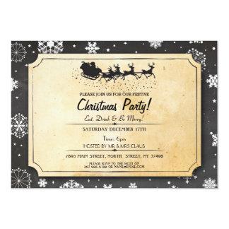 Christmas Dinner Party Santa Wood Snow Xmas Invite