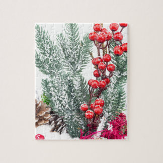 Christmas dish with berries mushrooms decoration jigsaw puzzle