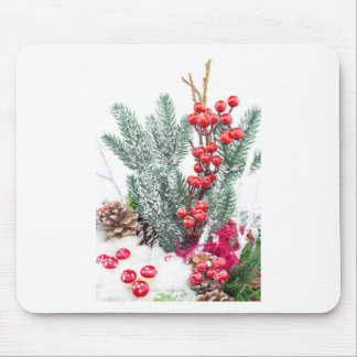 Christmas dish with berries mushrooms decoration mouse pad