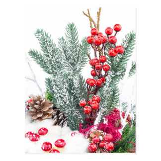 Christmas dish with berries mushrooms decoration postcard