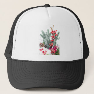 Christmas dish with berries mushrooms decoration trucker hat