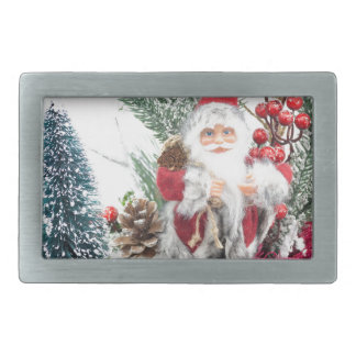 Christmas dish with santa Claus and decoration Belt Buckle