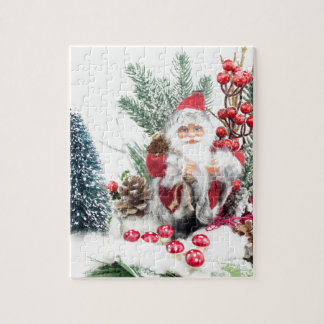 Christmas dish with santa Claus and decoration Jigsaw Puzzle