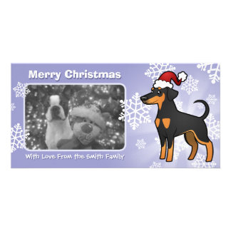 Christmas Doberman Pinscher (floppy ears) Personalized Photo Card