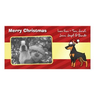 Christmas Doberman Pinscher (pointy ears) Custom Photo Card