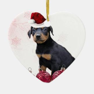 Christmas Doberman puppy Ceramic Ornament